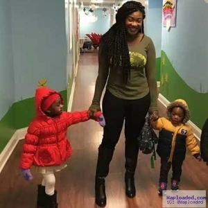 Photo: Mercy Johnson Shows Off Her New Trim Figure While Dropping Her Kids In School